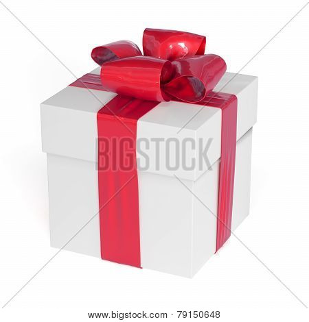 White Gift Box With Red Ribbon Bow Isolated On White
