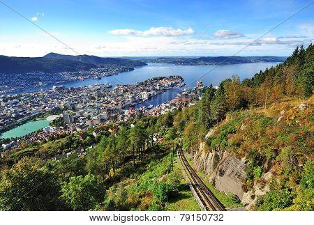 City of Bergen from Mt. Floyen, Norway
