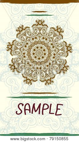 Vertical design wedding invitation card based on traditional tribal mehndi henna art. Vintage decora