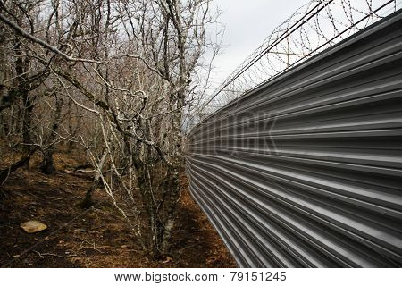 Iron Fence In The Forest