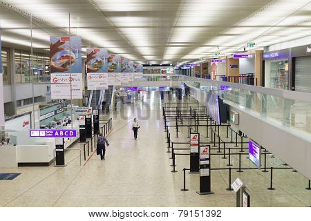 GENEVA - SEP 15: Airport interior on September 15, 2014 in Geneva, Switzerland. Geneva International Airport is located 4 km northwest of the Geneva city centre