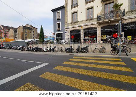 GENEVA - SEP 11: area near train station in city center on September 11, 2014 in Geneva, Switzerland. Geneva is the second most populous city in Switzerland and is the most populous city of Romandy