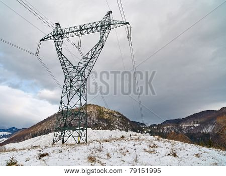 Electricity Tower On Mountain