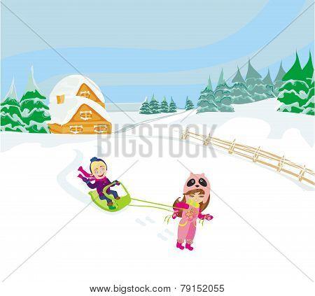 Fun In The Winter Day