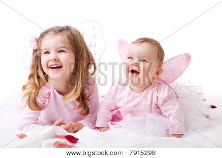 Two Young Girls Dressed as Fairies