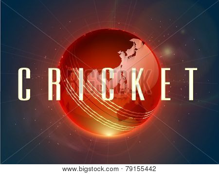 Shiny red Cricket ball with map on stars light background.