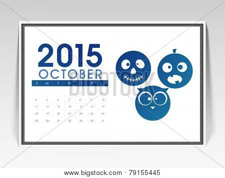 Monthly calendar page of October 2015 with scary faces for Halloween celebration.