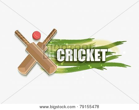 Cricket sports concept with bats and ball on shiny paint stroke background.