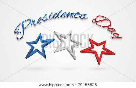 3D stars in United State American flag color for Presidents Day celebration.