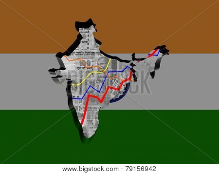 India map with flag and graphs on Rupees illustration