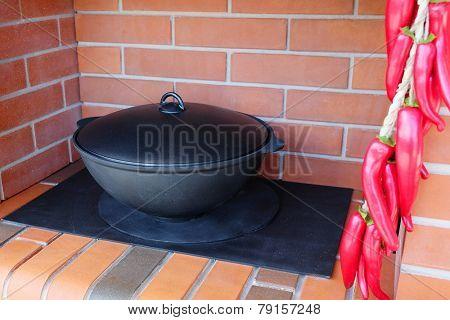 cauldron under the white background