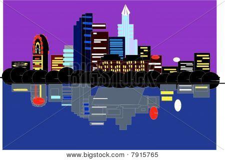 Austin Tx, vector skyline