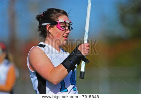 Girls Lacrosse players with wrist brace