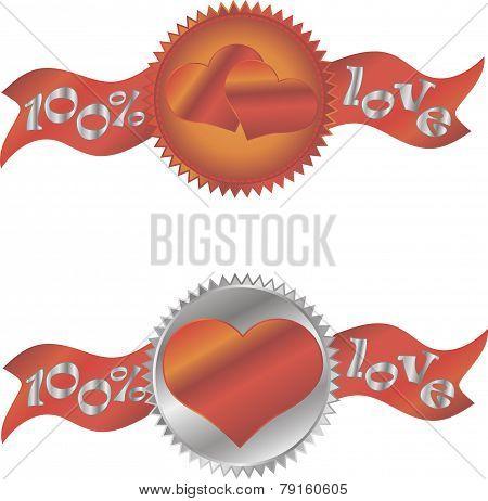 Heart sign icon. Love symbol. Certificate emblem labels. Vector