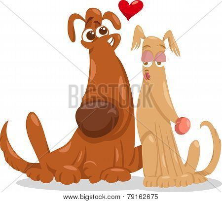 Dogs In Love Cartoon Illustration