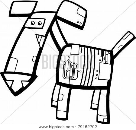 Robot Dog Cartoon Coloring Page