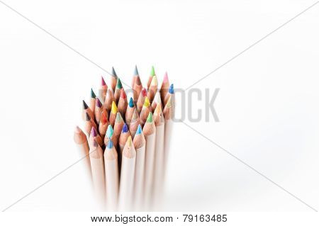 Bunch Of Pencil With Wooden Body And Colored Tips Focus Effect