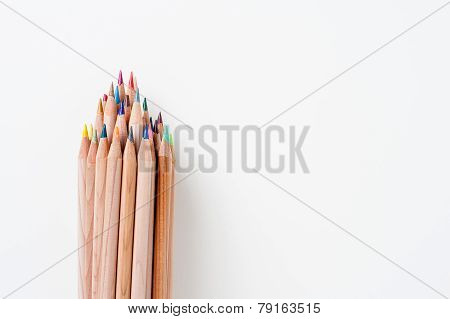 Bunch Of Pencil With Wooden Body And Colored Tips