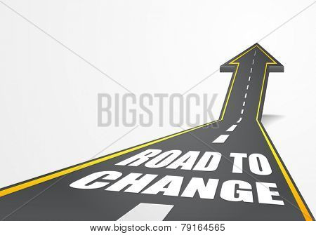 detailed illustration of a highway road going up as an arrow with Road To Change text, eps10 vector