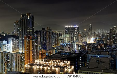 hong kong night, urban downtown area