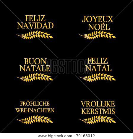 Merry Christmas Laurels In Different Languages 4