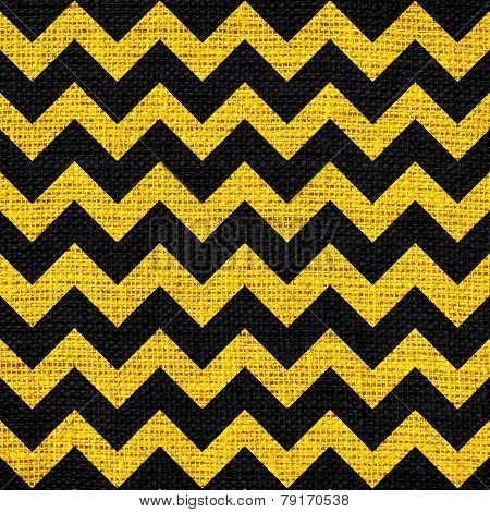 Seamless black yellow chevron zigzag burlap jute fabric background
