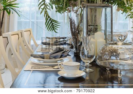 Luxury Dinning Room With Table Set On Wooden Table