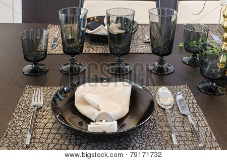 Table Set On Luxury Dinning Table