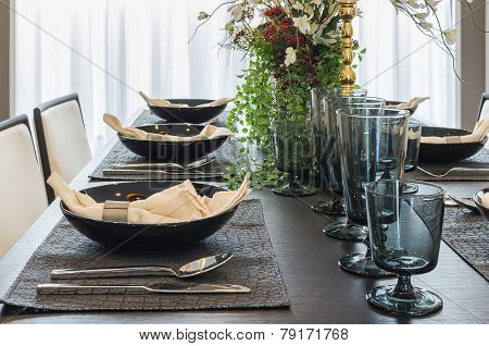 Table Set In Luxury Dinning Room