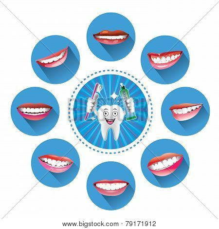 Cartoon Smiling tooth with Set of smiles