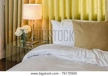 Bedroom With Green Curtain