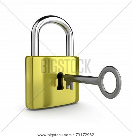 Closed Padlock With Key