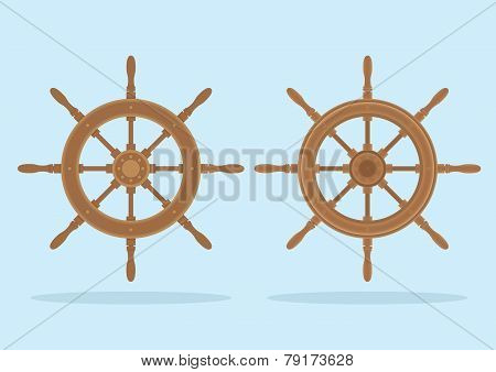 Marine Helm, Two Styles Of Steering Wheel Isolated