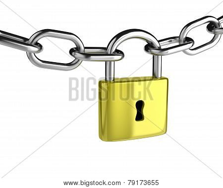 Chain With A Closed Padlock