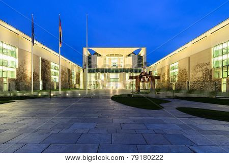 The Kanzleramt In Berlin At Night