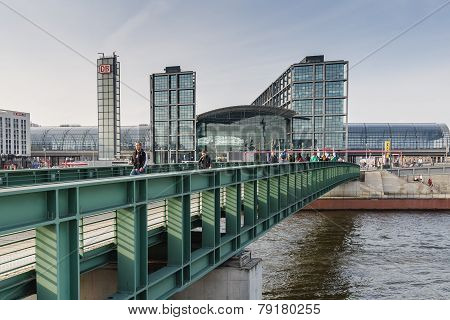 View Of The Berlin Hauptbahnhof Station From Bridge