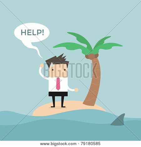 Businessman need help on the small island.