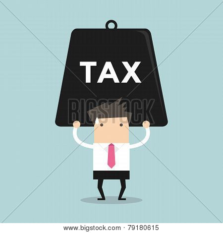 Businessman carrying heavy tax