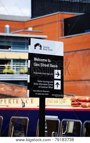 Gas Street Basin Sign, Birmingham.