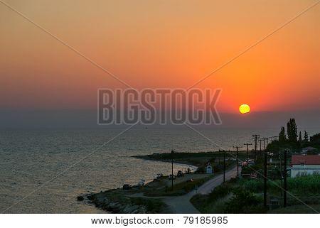 Sunset In Nea Kallikratia, Greece