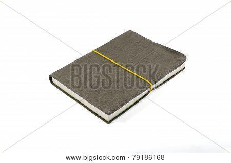 Old Velvet Notebook On White