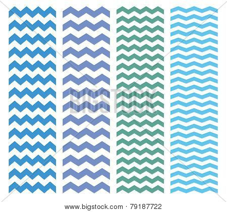 Zig zag chevron blue and green pattern vector set.