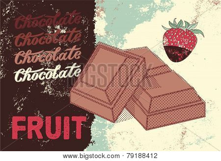 Vintage Chocolate packaging design. Fruit chocolate poster. Vector illustration