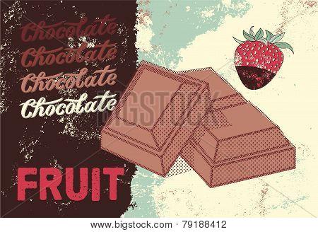 Vintage Chocolate packaging design. Fruit chocolate poster. Vector illustration