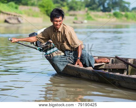 Burmese Helmsman On The Lemro River