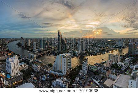 Bangkok Cityscape And Chaophraya River Panorama