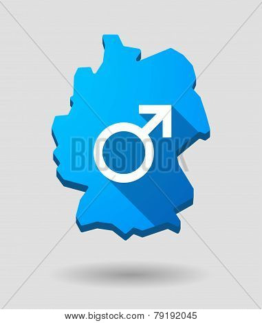 Germany Map Icon With A Male Sign