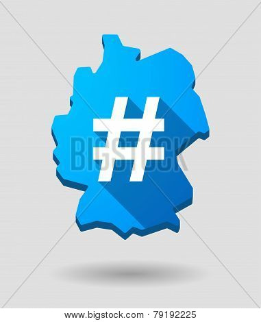 Germany Map Icon With A Hash Tag