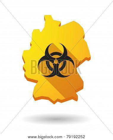 Germany Map Icon With A Biohazard Sign