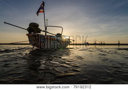 Sunrise And Fishing Boat On The Huahin Beach, Thailand